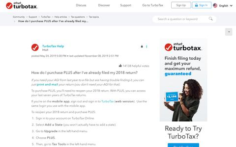 Screenshot of Pricing Page intuit.com - How do I purchase PLUS after I've already filed my... - Intuit Turbo Real Money Talk - captured Nov. 21, 2019