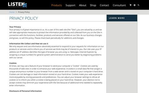 Screenshot of Privacy Page listentech.com - Privacy Policy | Listentech - captured Jan. 27, 2016