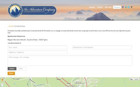 Screenshot of Contact Page bigmountainadventures.com - Contactez Nous - captured Sept. 30, 2014