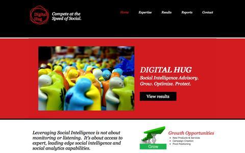 Screenshot of Home Page digitalhug.com - DigitalHug Social Insight Advisory - captured Oct. 1, 2014