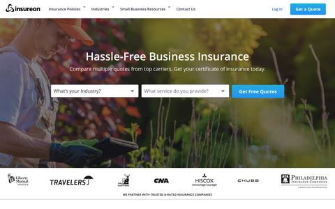Screenshot of Home Page insureon.com - Compare Business Insurance Quotes Online   Insureon - captured Feb. 24, 2020