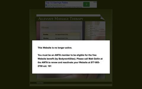 Screenshot of Hours Page amtamembers.com - Alleviate Massage Therapy - captured Sept. 23, 2014