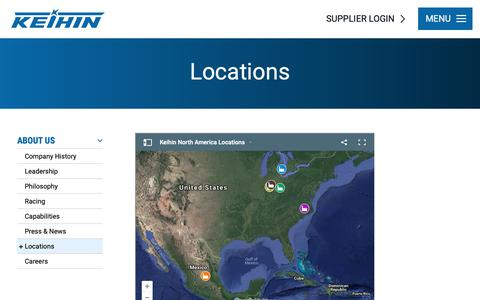 Screenshot of Locations Page keihin-na.com - Locations - About Us | Keihin-NA - captured Oct. 15, 2018