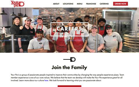 Screenshot of Jobs Page yourpie.com - Careers | Your Pie | Express Your Inner Pizza - captured Sept. 20, 2018