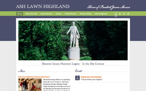 Screenshot of Home Page ashlawnhighland.org - Ash Lawn-Highland - captured Dec. 26, 2015