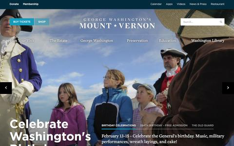 Screenshot of Home Page mountvernon.org - George Washington's Mount Vernon - captured Feb. 5, 2016