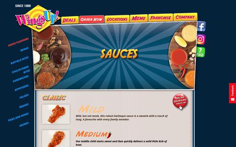 Screenshot of Menu Page wingsup.com - WingsUp! SAUCE FLAVOURSWingsUp! - captured Oct. 20, 2018