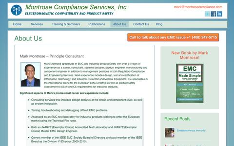 Screenshot of About Page montrosecompliance.com - Mark Montrose Biography - Principle Consultant Montrose Compliance - captured Nov. 3, 2014