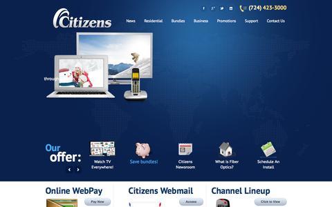 Screenshot of Home Page wpa.net - Citizens Telecom - captured Oct. 2, 2014
