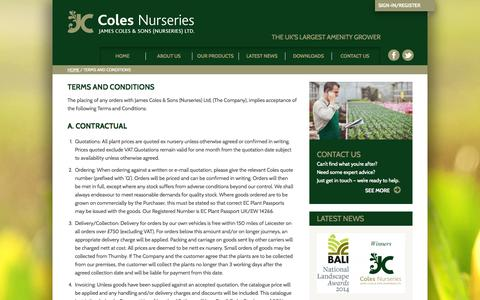 Screenshot of Terms Page colesnurseries.co.uk - Terms and Conditions - Coles Nurseries - captured Nov. 1, 2014