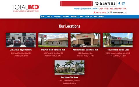 Screenshot of Locations Page thetotalmd.com - Locations | Total MD - captured Oct. 17, 2018
