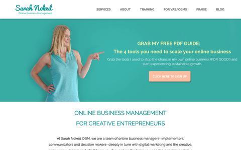 Screenshot of Home Page sarahnoked.com - Let's Get Growing! - Sarah Noked | Online Business Manager | Online Business Management - captured Jan. 12, 2018