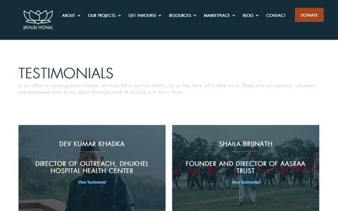Screenshot of Testimonials Page khusihona.org - Testimonials - Khusi Hona - captured Aug. 9, 2016