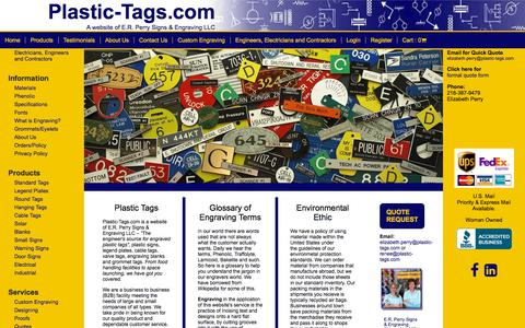 Screenshot of Home Page plastic-tags.com - Plastic Tags - Engraved plastic tags for electricians, engineers and contractors - captured Sept. 25, 2018