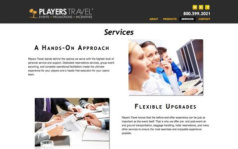Screenshot of Services Page playerstravel.com - Services - Players Travel - captured Sept. 30, 2014