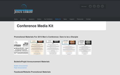 Screenshot of Press Page catholicmenforjesuschrist.org - Conference Media Kit   Catholic Men For Jesus Christ - captured Dec. 7, 2015