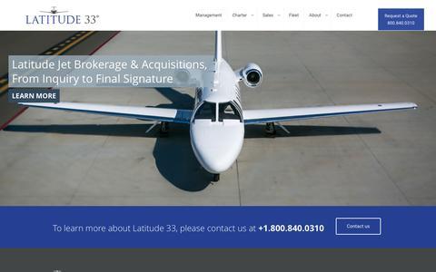 Screenshot of Home Page l33jets.com - Latitude 33 Aviation - captured Jan. 26, 2016