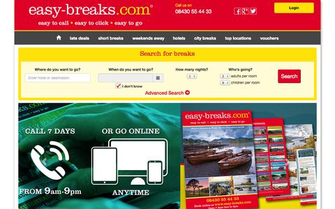 Screenshot of Home Page easy-breaks.com - Short Breaks & Weekend Break Hotel Deals in the UK - captured Oct. 3, 2014