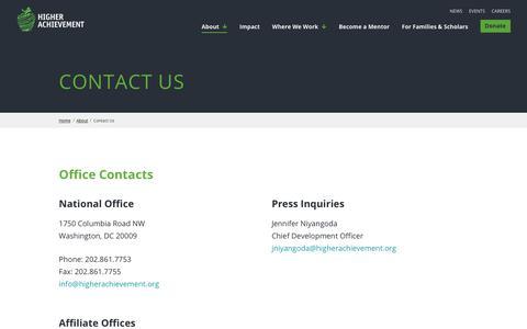 Screenshot of Contact Page higherachievement.org - Contact Us - Higher Achievement - captured June 13, 2019