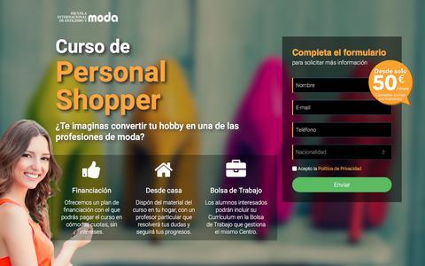 Screenshot of Home Page curso-personalshopper.com - Curso de Personal Shopper. - captured June 30, 2017