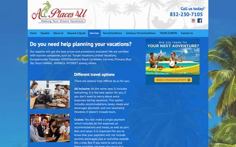 Screenshot of Services Page allplaces4u.com - Types of Vacations | Planning | Agency | Katy, TX - captured Nov. 20, 2016