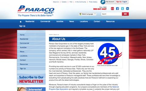 Screenshot of About Page paracogas.com - Propane Companies, Propane Suppliers, Propane Dealers | Paraco Gas - captured Oct. 10, 2014