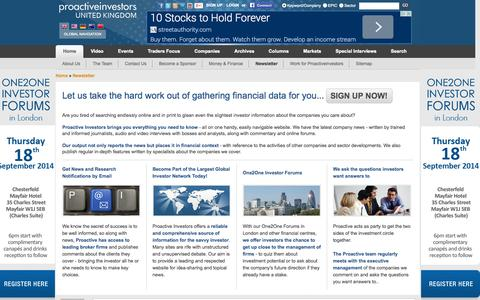 Screenshot of Signup Page proactiveinvestors.co.uk - Proactive Investors - Leading source of Financial News, Investor Forums, CEO Interviews, Financial Columnists, Stock Information - Members - captured Sept. 18, 2014