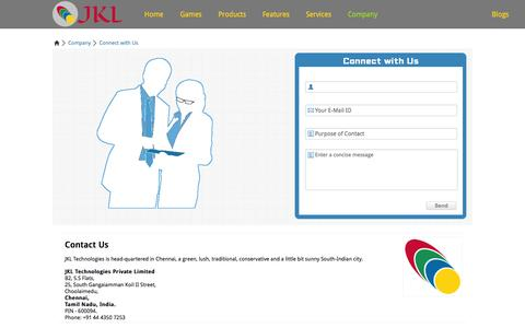 Screenshot of Contact Page jkltech.in - JKL Technologies - Connect with Us | Social Objective Marketing Campaigns | English Vocabulary Tool | Cloud Services Adoption & Deployment Consultation - captured Oct. 4, 2014