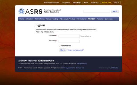 Screenshot of Press Page asrs.org - Sign in - The American Society of Retina Specialists - captured Oct. 30, 2014