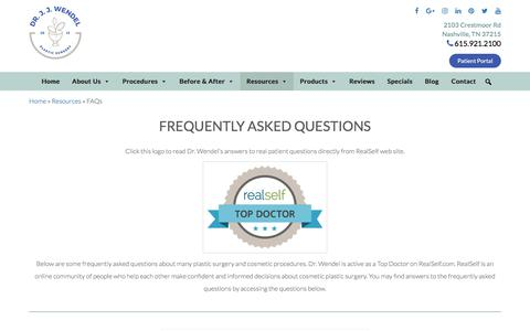 Screenshot of FAQ Page drjjwendel.com - Frequently Asked Questions - Dr. J. J. Wendel Plastic Surgery - captured Feb. 15, 2018