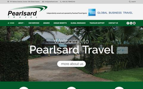 Screenshot of Home Page pearlsard.com - Pearlsard Travel - American Express - Global Business Travel - captured Oct. 3, 2018