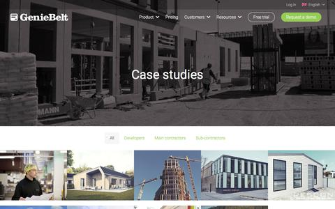 Screenshot of Case Studies Page geniebelt.com - Case studies - GenieBelt - captured April 22, 2018
