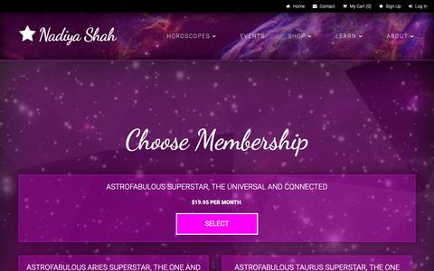 Screenshot of Signup Page nadiyashah.com - Nadiya Shah  » Choose Membership - captured Oct. 18, 2018