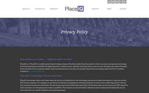 Screenshot of Privacy Page placeiq.com - Privacy Policy | PlaceIQ - captured July 3, 2015