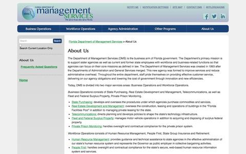Screenshot of About Page myflorida.com - About Us / Florida Department of Management Services - DMS - captured Sept. 18, 2014