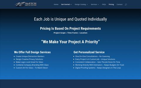Screenshot of Pricing Page nuetch.com - Request Quote - NuEtch Art for Glass - captured Oct. 20, 2018