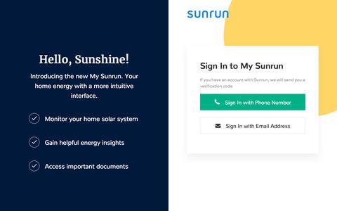 Screenshot of Login Page sunrun.com - My Sunrun - captured Jan. 15, 2020