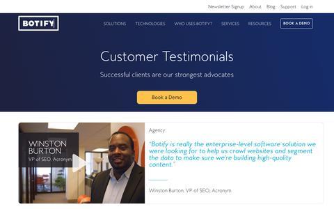 Screenshot of Testimonials Page botify.com - Botify   Testimonials - captured June 2, 2017