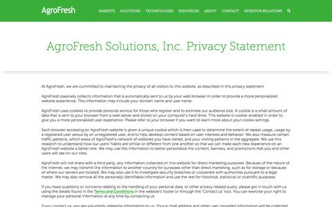 Screenshot of Privacy Page agrofresh.com - Privacy policy - AgroFresh - captured July 29, 2018