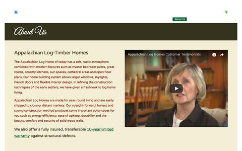 Screenshot of About Page alhloghomes.com - Appalachian Log-Timber Homes - captured Oct. 8, 2017