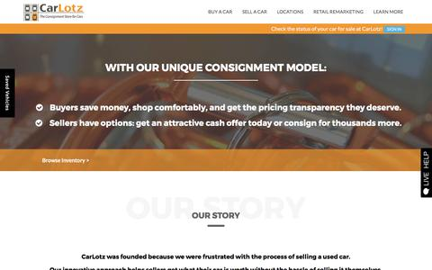 Screenshot of About Page carlotz.com - Used Car Consignment Dealer in Virginia & North Carolina | CarLotz - captured April 3, 2017