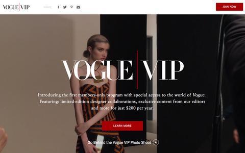 Screenshot of Landing Page vogue.com - Vogue VIP - captured Dec. 21, 2016