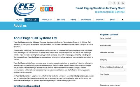 Screenshot of About Page pagercall.co.uk - About Us Pager Call Systems - captured Oct. 18, 2016