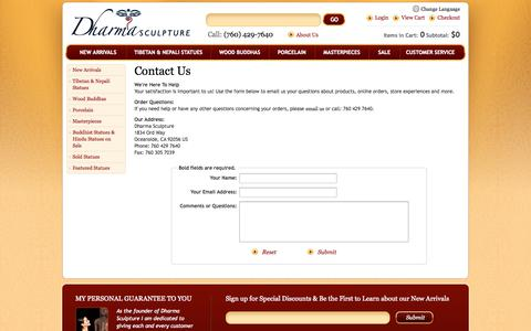 Screenshot of Contact Page Support Page dharmasculpture.com - Dharma Sculpture: Contact Us - captured Oct. 23, 2014