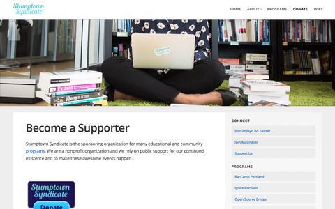 Screenshot of Support Page stumptownsyndicate.org - Become a Supporter – Stumptown Syndicate - captured Nov. 18, 2018
