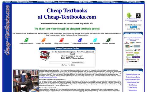 Screenshot of Home Page cheap-textbooks.com - Cheap Textbooks, Cheapest Textbook Sources Revealed - Cheap Rental Textbooks, Cheapest Used Textbooks - captured Sept. 27, 2018
