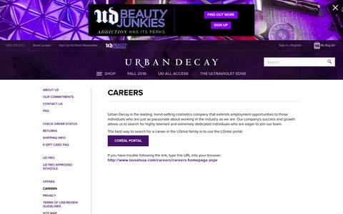 Screenshot of Jobs Page urbandecay.com - Careers | Urban Decay - captured Aug. 25, 2016