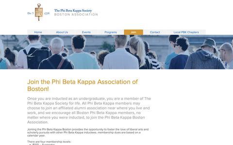 Screenshot of Signup Page pbkboston.org - pbk-boston | Join - captured Sept. 28, 2018