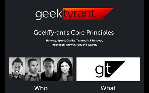 Screenshot of About Page geektyrant.com - About — GeekTyrant - captured Dec. 11, 2015