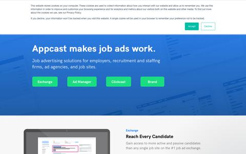 Screenshot of Products Page appcast.io - Job Advertising for Employers, Agencies, Staffing & Job Sites | Appcast - captured Aug. 23, 2019